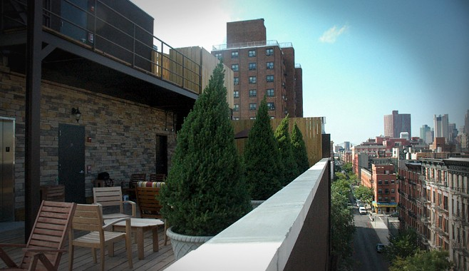 Hotel East Houston Roof Terrace Side View